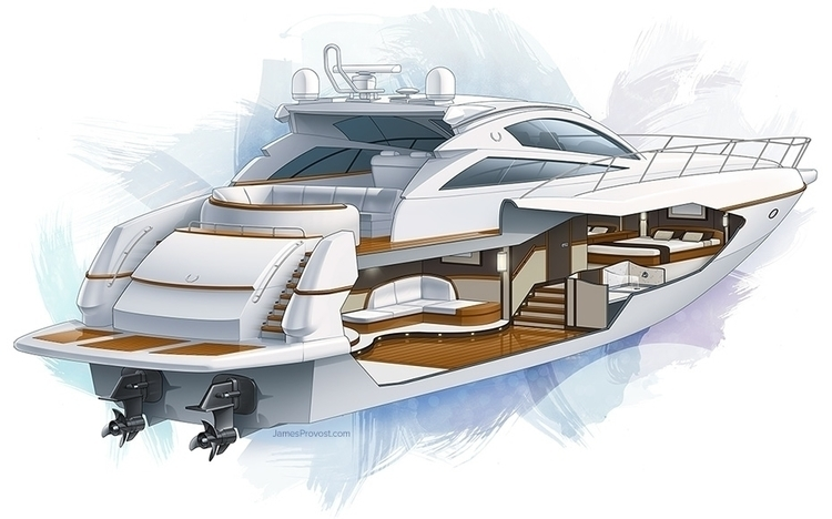 Motor Yacht Cutaway - technicalillustration - jamesprovost | ello