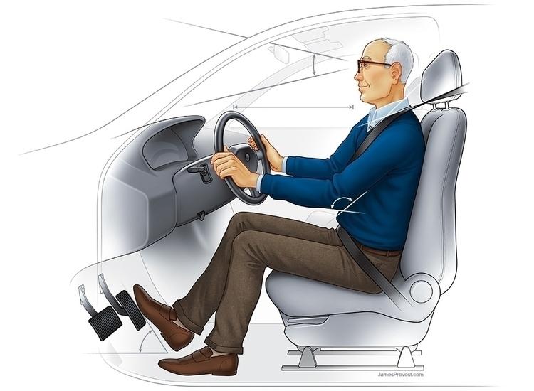 Car Ergonomics Seniors - technicalillustration - jamesprovost   ello