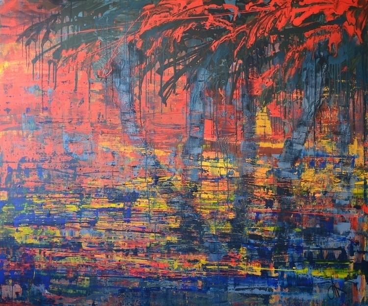 Tropical sunset 150x180 Acrylic - tanya_vasilenko | ello