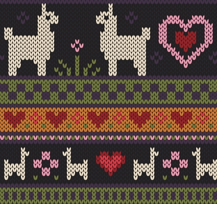 Llama Knit - illustration, digitalart - kcretcher | ello
