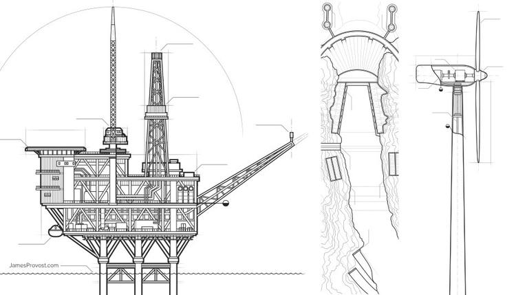 Engineering Illustrations - line - jamesprovost | ello