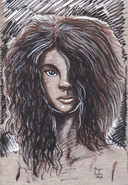 Acrílico tinta sobre cartón - woman - alfredointoci | ello