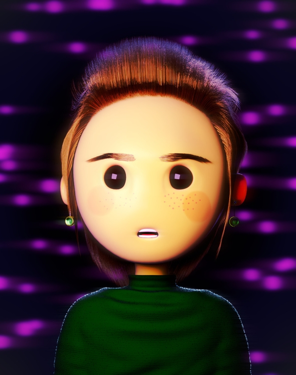 Toon Girl Purple background com - jeos10 | ello