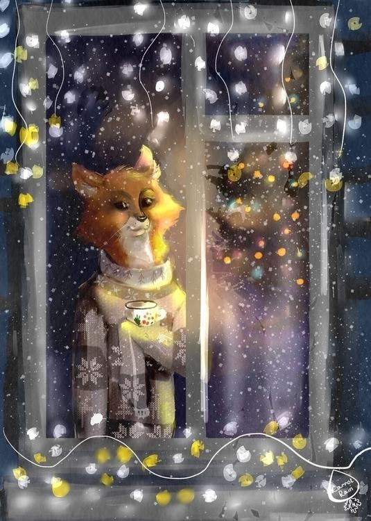 illustration, snow, fox, christmas - carrotrain | ello