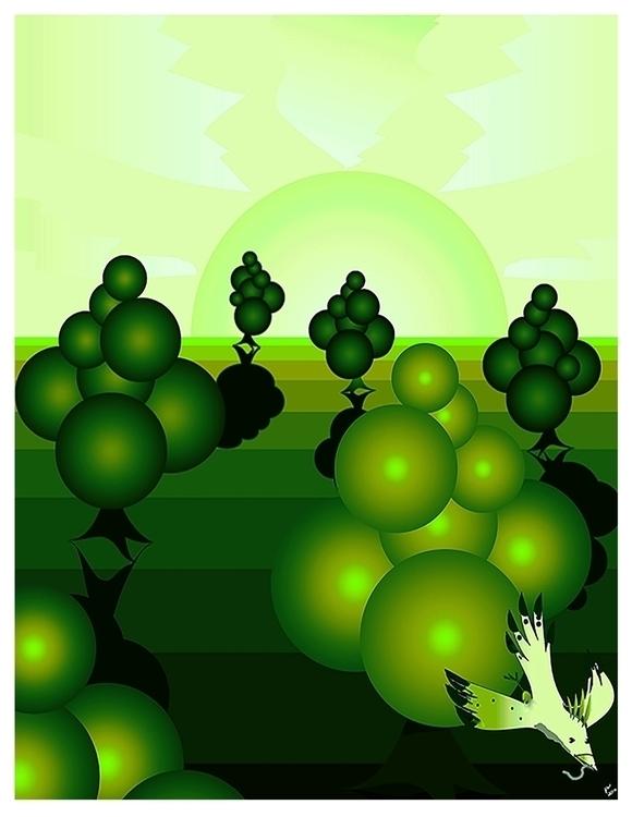 Bubble Trees Digital Artwork - illustration - wilkinso-5391 | ello