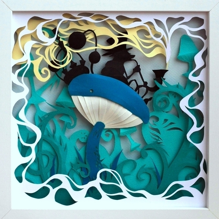 Caterpillar turquoise - paper, papercut - talamaskanka   ello
