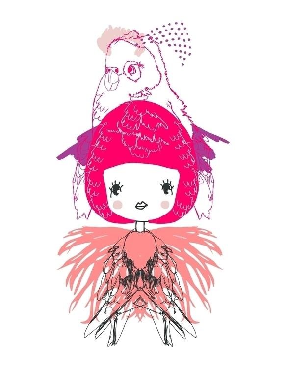 Parrot Girl Print Created iglo+ - karitasdottir | ello