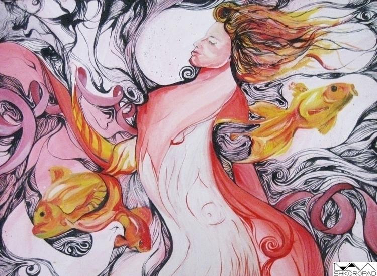 Woman-Fish - painting, illustration - emilio-7671 | ello