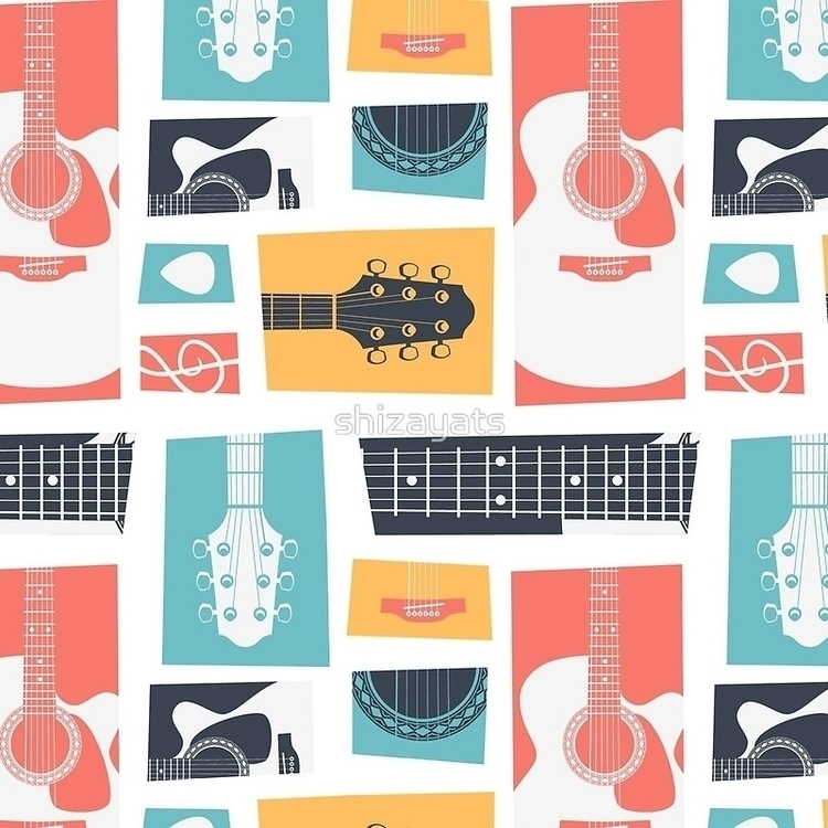 Guitar Collage - guitar, pattern - pushkina | ello