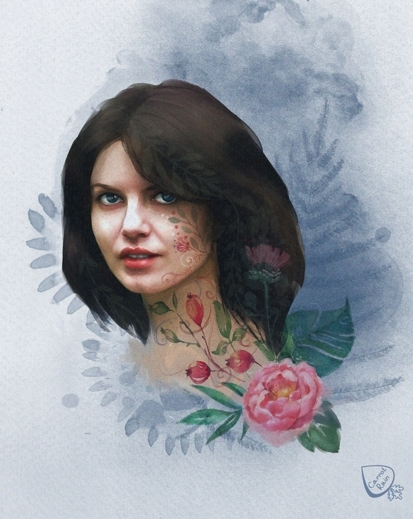 painting, portrait, girl - carrotrain | ello