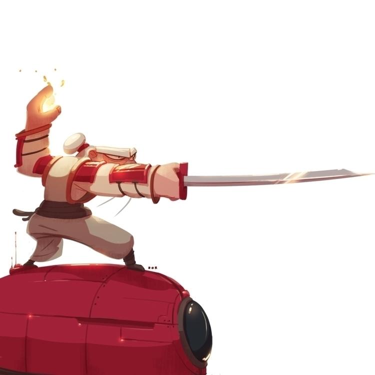 samurai, robot, sword, conceptart - dorshamir | ello