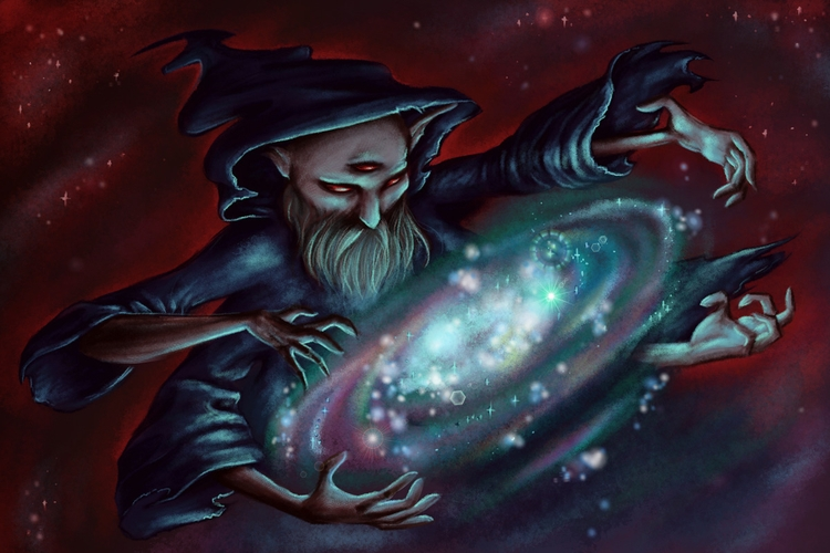 illustration, wizard, magic, cosmic - kerenor | ello