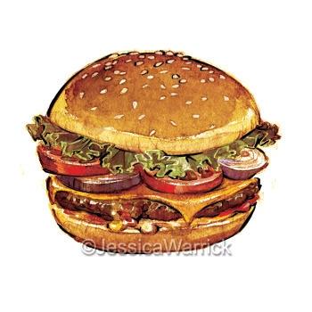 Hamburger - hamburger, food, foodillustration - jessicawarrick | ello