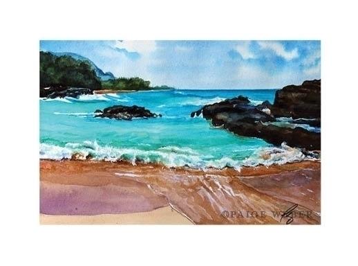 129 / Kauai - #Kauai#Beach#waves#blue#watercolor#hawaii#mahalo - paige-2875 | ello