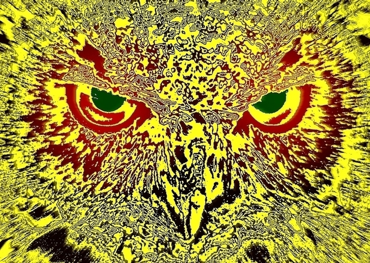 yellow black artwork owls head  - leo_brix | ello