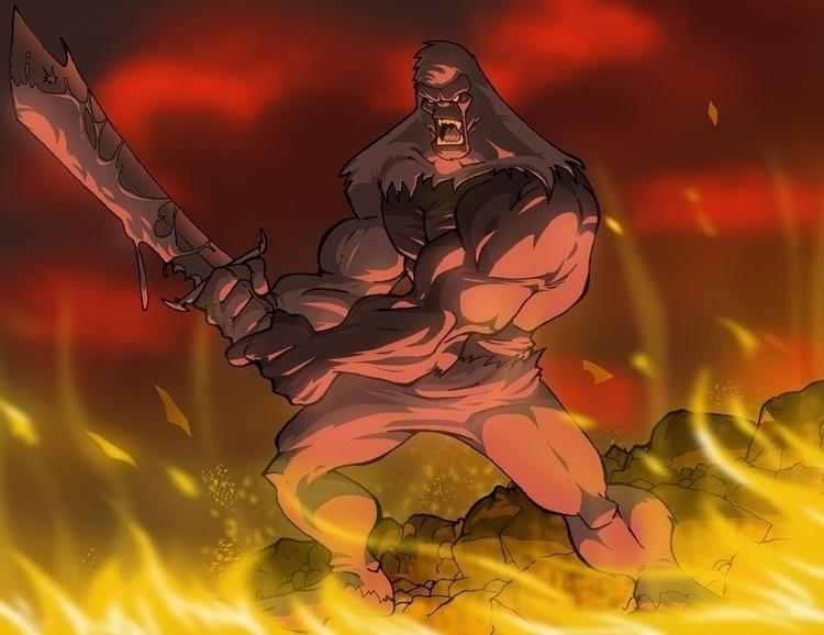 Barbarian Gorilla - conceptart, drawing - rickmarin   ello
