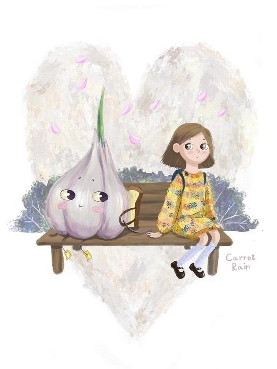 garlic love - illustration, girl - carrotrain | ello