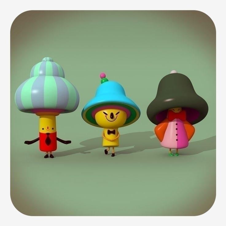 3 amigos - shrooms, mushroom, 3d - cecymeade | ello