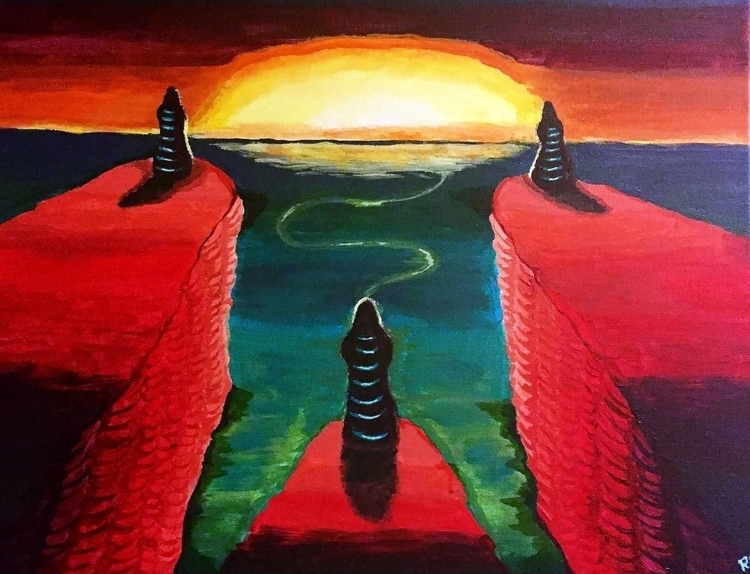 3 Monk Sunset Acrylic Canvas - painting - wilkinso-5391 | ello