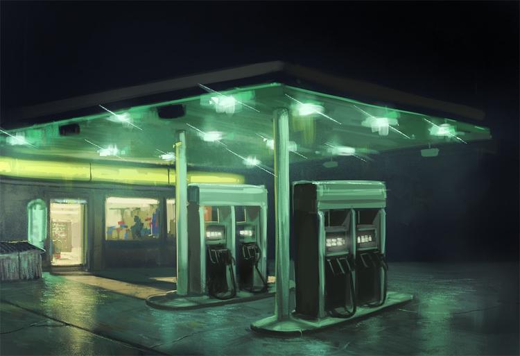 gas station - retro, night, gasstation - kschiavone | ello