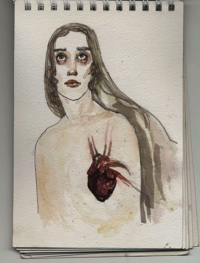 Black Heart - illustration, watercolor - amigdala | ello