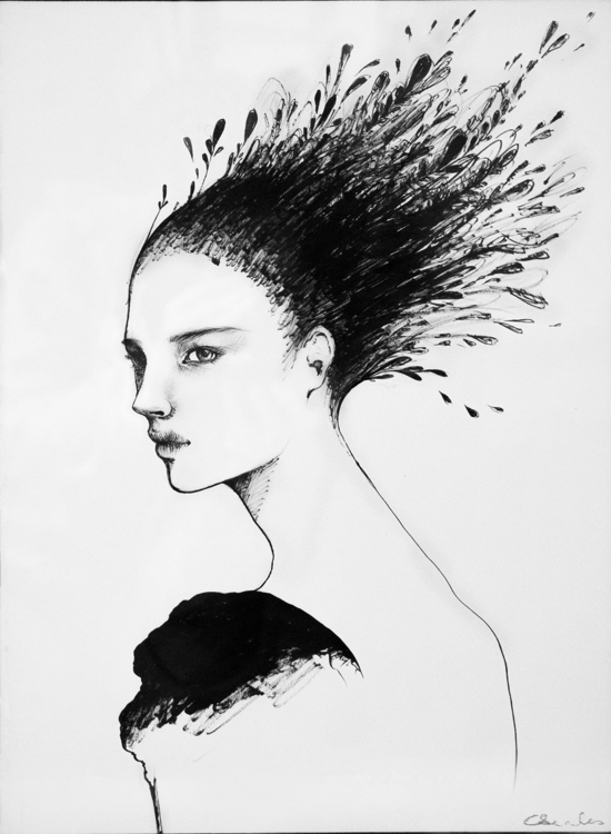 ink, drawing, girl, blackwhite - caroline-1457 | ello