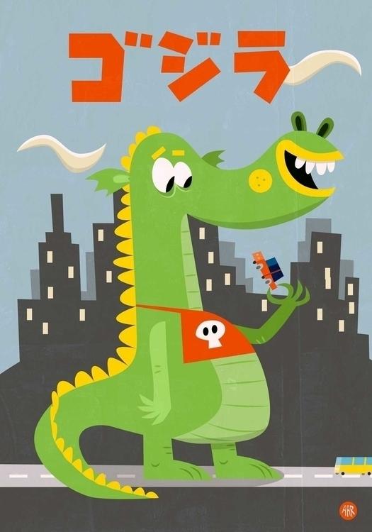 Godzilla! Crunchy chewy - godzilla - sweatshopillustrations | ello