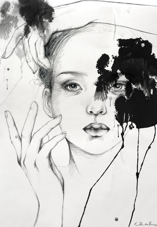 ink, drawing, face, girl - caroline-1457 | ello