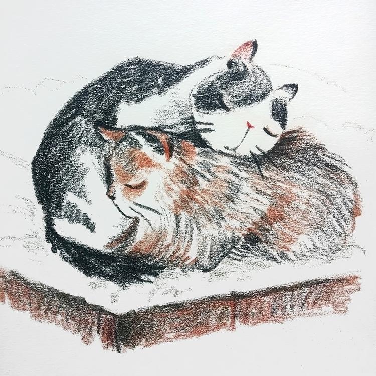 cats, warm, snow, hug, sketch - prianikn | ello