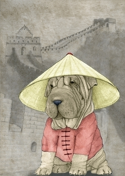 Shar Pei Great Wall. Illustrati - barruf | ello