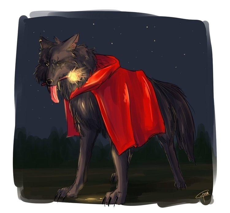 art 2015 - digitalart, wolf, light - daftdoggui | ello