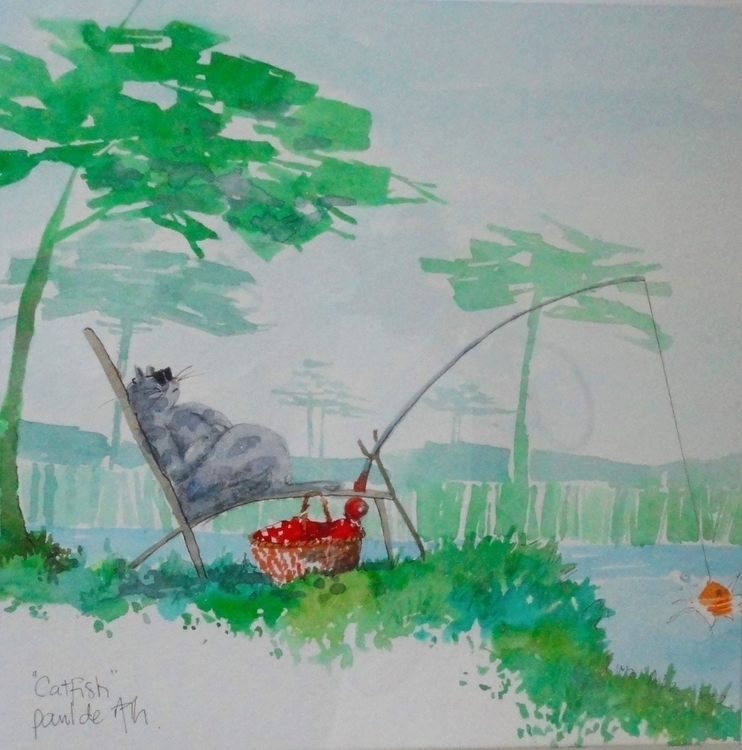 Catfish - painting, Cat, fishing - paulfrance | ello