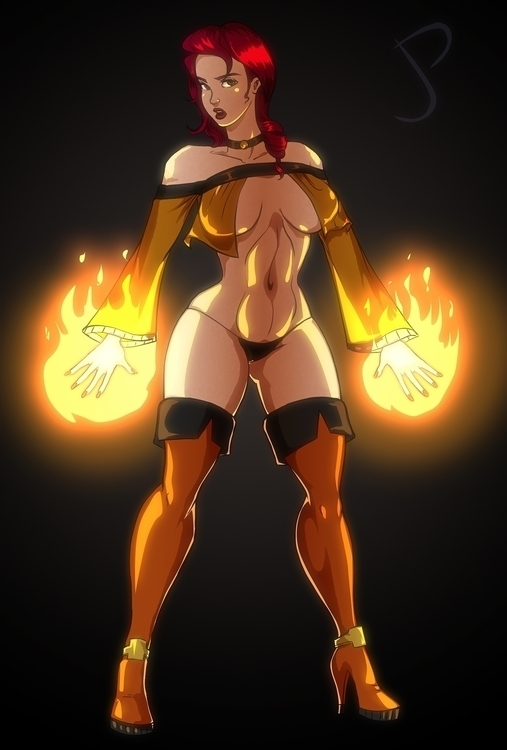 Hot Mage - illustration, pinupgirl - dualmask | ello