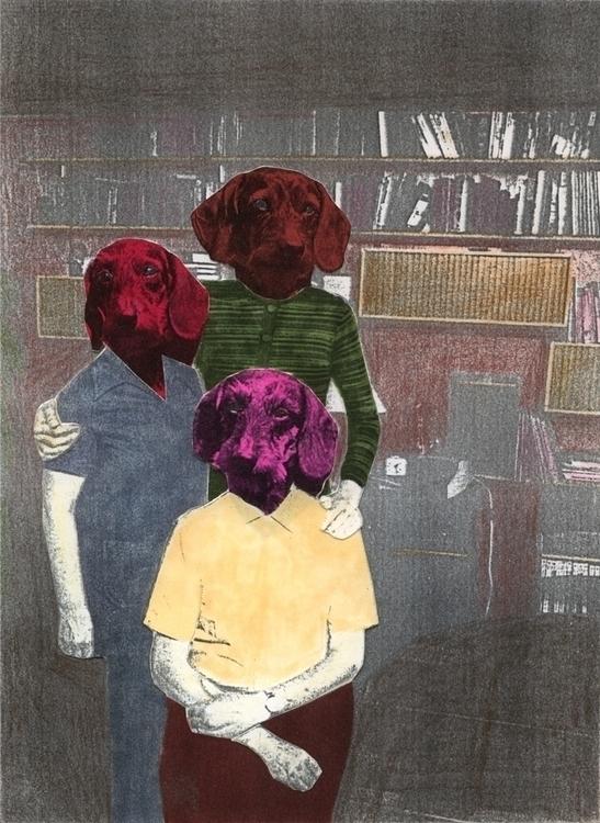 illustration, collage, dogs, livingroom - robincottage | ello