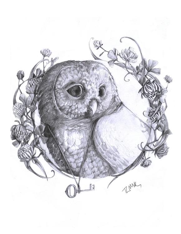 Forest Guard - owl, key, guard, forest - talamaskanka | ello