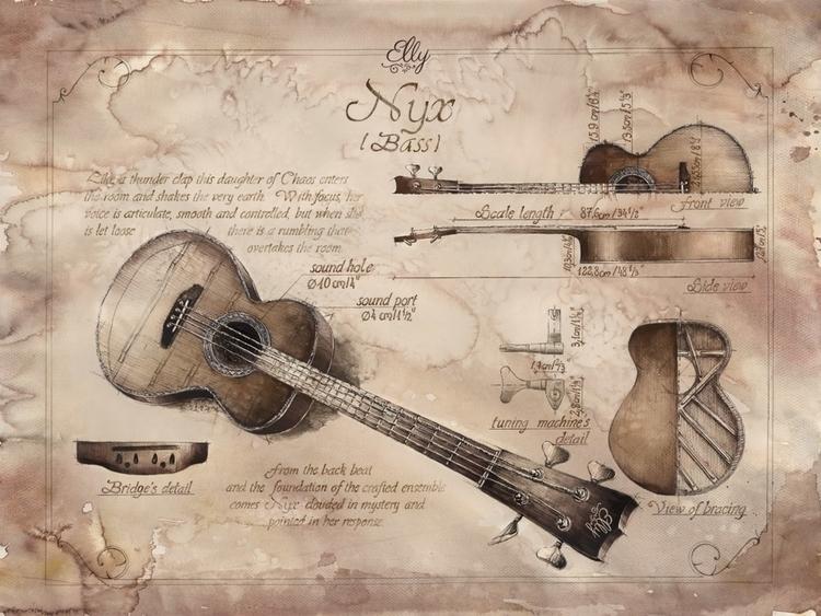 Drawings bass guitar designed E - grimdream | ello