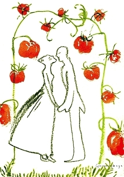 Tomato wedding - illustration, watercolor - gonsero   ello