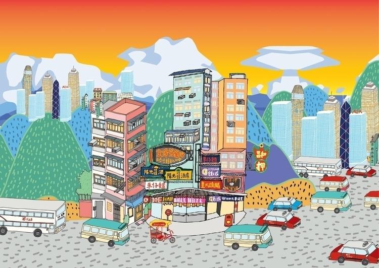 55 days Hong Kong - hongkong, illustration - yirulai | ello