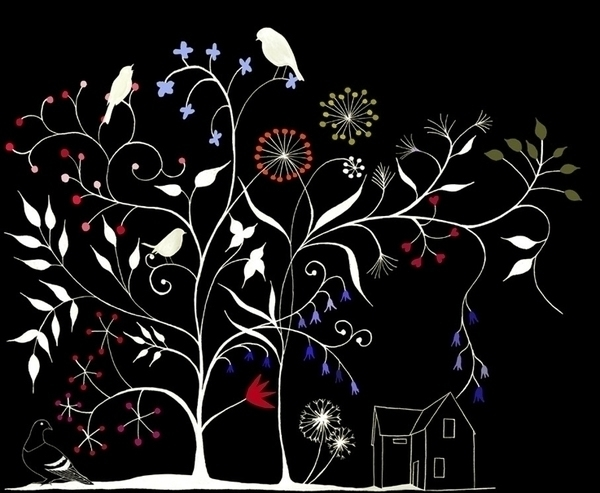 birds, illustration, tree, house - robincottage   ello
