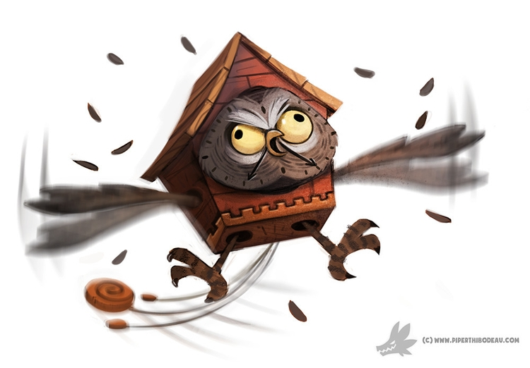 Daily Painting Hoo Clock - 921 - piperthibodeau | ello
