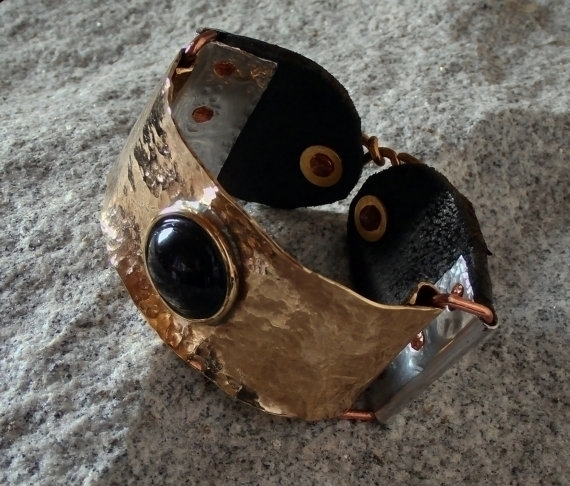 brass leather bracelet - design - wolfgangschweizer | ello