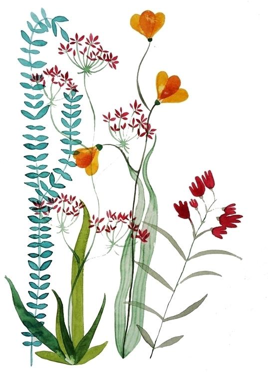 Flowers leaves - 2, watercolor, illustration - laurabracamonte | ello