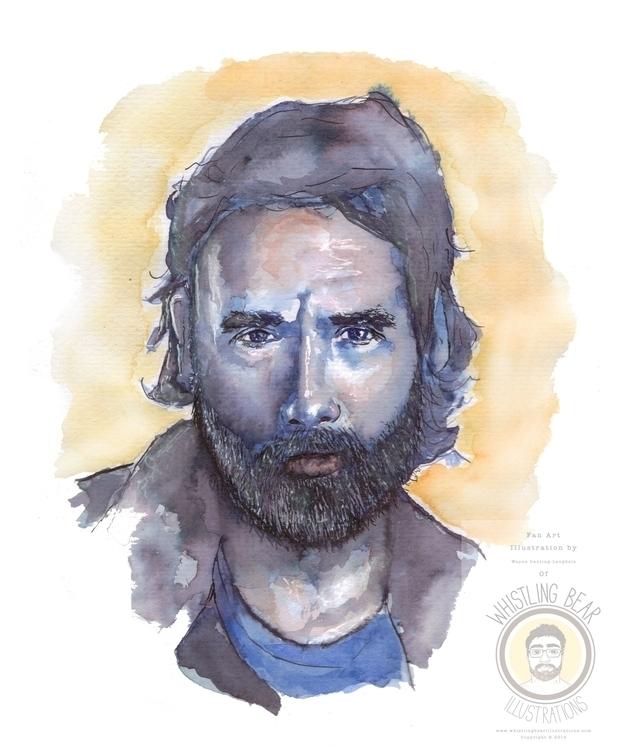 Rick Walking Dead, fan art illu - whistlingbear | ello