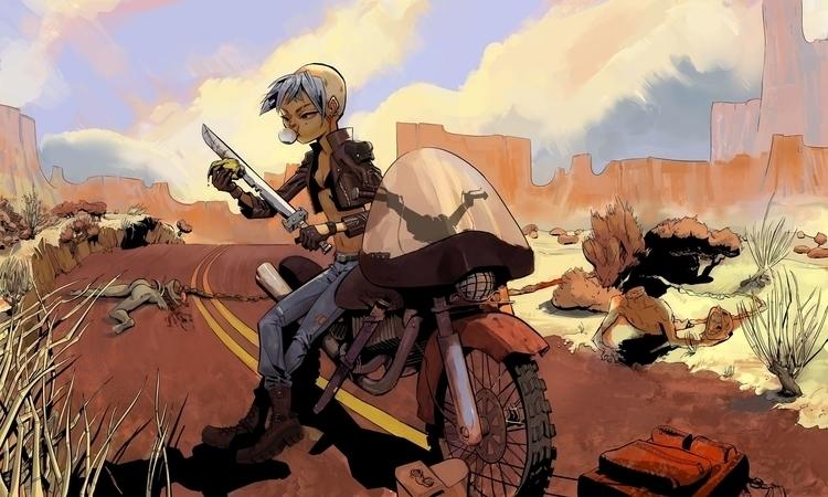 zombie, bike, biker, sword, girl - samszym   ello