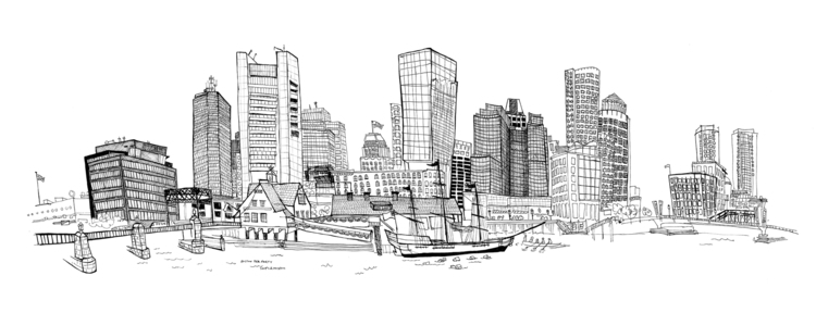 Boston, view Museum pier - cityscape - nanu_illustration | ello