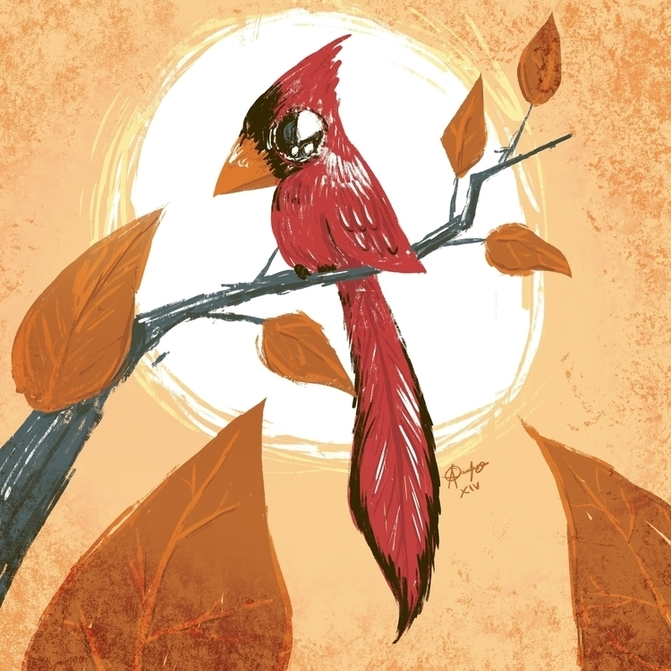 cardenal, autumn, bird, illustration - adolfozee | ello