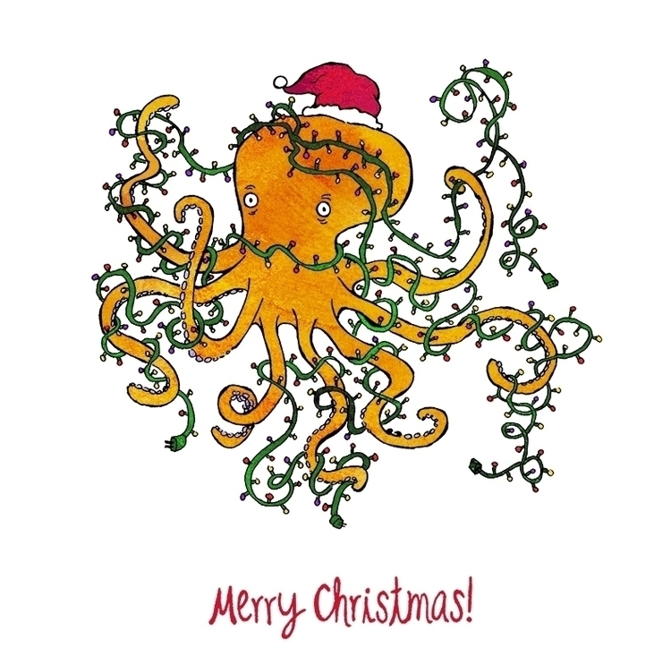 Tangled tentacles - greetingcard - nanu_illustration | ello