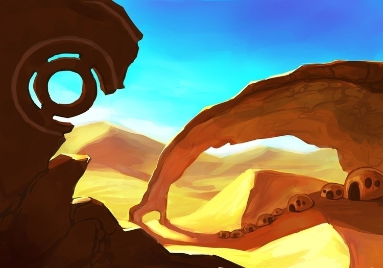 desert - illustration, backgrounddesigns - handwolfy | ello