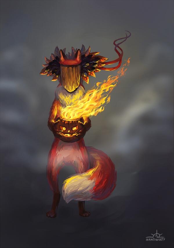 Samhain spirit - samhain, fox, fire - handwolfy | ello