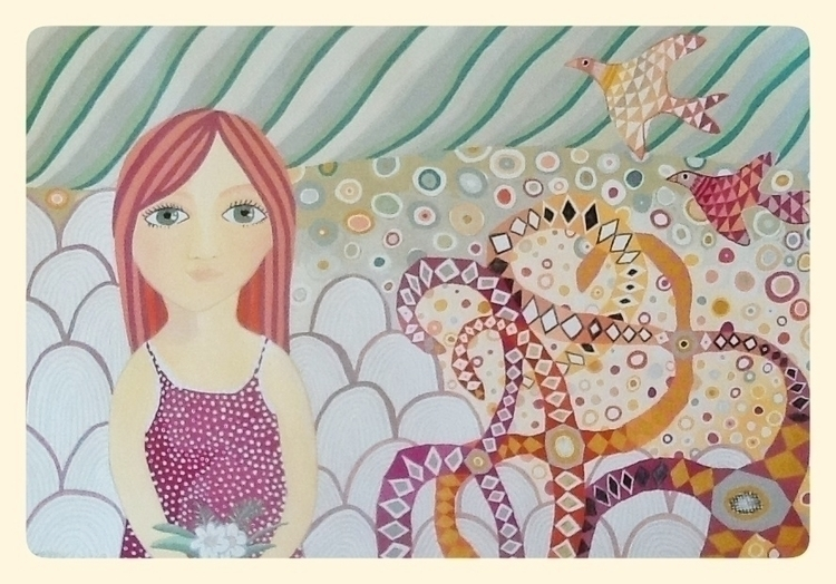 Girl Green Eyes, Gouache paper - studiobonnici | ello
